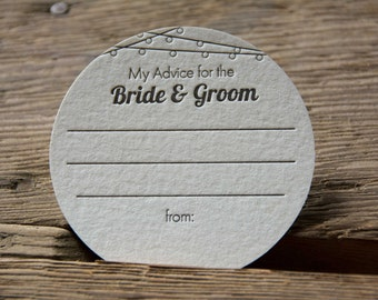 25 Lantern Advice for the BRIDE & GROOM Coasters, (Letterpress printed, 3.5 inch circle) set of 25