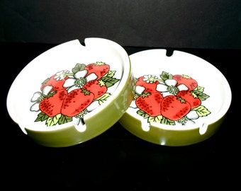 Adorable Vintage Ceramic Ashtrays Set Red Strawberries White Flowers Green Leaves Two
