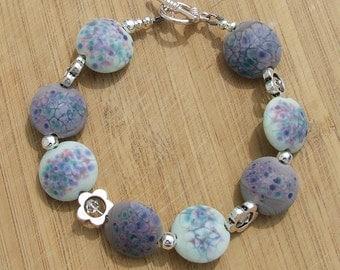 Daisy Chain Mint - Lampwork Bead Bracelet
