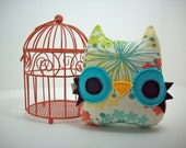 owl pillow mini plush toy in pastel floral