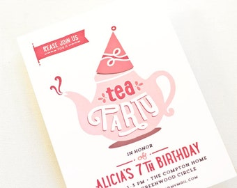 Girl's Party Invitation, Children's Birthday Party Invite // TEA PARTY