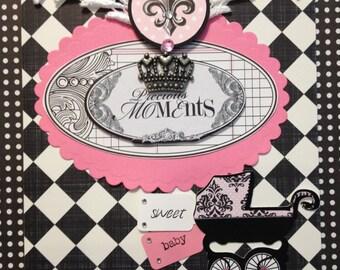 Baby Girl Card, Welcome Baby Card, Handmade, Embellished Card