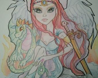 Warrior Angel Fantasy Big Eye Art Print