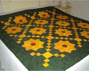 Sunflower quilt, bed quilt