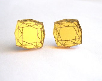 Mirror Gold Princess Cut Stud Earrings Statement Diamond - Laser Cut Acrylic Perspex