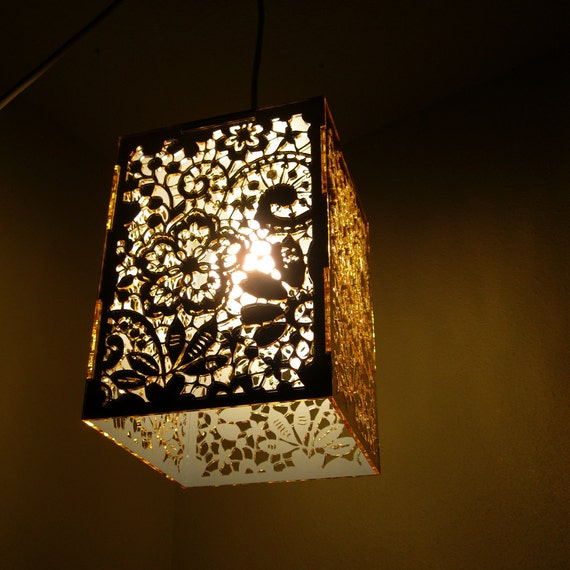 Gold Mirror Lace Pendant Light Hanging Lamp Laser Cut Floral