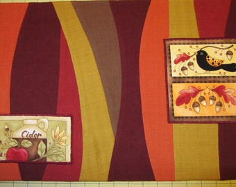 2 STRIPED PLACEMATS Fall Colors with Applique Crows, Pumpkins, Cider and Oak Leaves