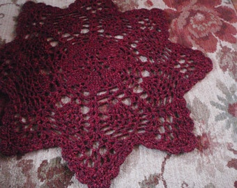 Burgundy Star Yarn Rug Handmade Crochet