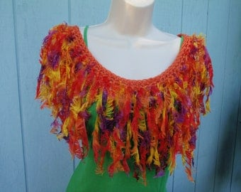 Tank Top Scarf Cowl in Fire Feathers