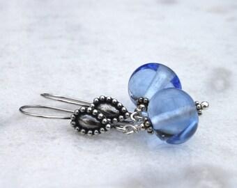 Light Blue Dangle Glass Earrings, Lampwork Jewelry, Long earrings, Blue Glass, Glass Earrings, Sky-blue, Sterling Silver, Lampwork Earrings,