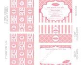 DIY -  Printable: Customized Tutu Cute Girl Baby Shower - Set of 15 Items