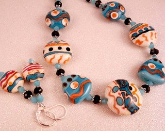 Lampwork Necklace Crystal Necklace Artisan Lampwork Turquoise Jewelry Black Jewelry Crystal Jewelry Lampwork Jewelry Beaded Jewelry