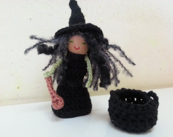 Black Witch, Finger Puppet Witch, Crone with laddle and a black cauldron