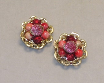 Vintage Earrings Sugared Cranberry Beads 1960s Mad Men