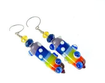 Colorful Lampwork Earrings, Rainbow Earrings, Glass Bead Earrings, Lampwork Jewelry, Dangle Earrings, Blue Drop Earrings, Beaded Earrings