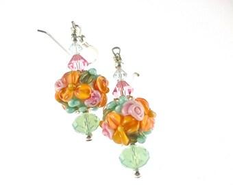 Summer Lampwork Earrings, Peach Floral Earrings, Flower Glass Bead Earrings,  Glass Bead Jewelry, Dangle Drop Earrings, Lampwork Jewelry