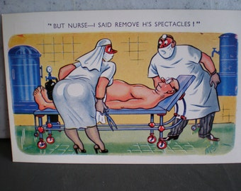 Vintage 1940's Unused Illustrated Dirty Joke Postcard - Made In Great Britain