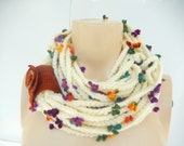 Cream Infinity Scarf -Chain crochet scarf with Cuff