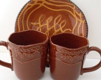 PrimiTive Folkart Pr. of Vintage Redware Coffee Cups Mugs  We Ship Internationally