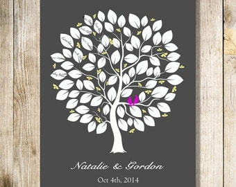 Wedding Guest Book  . wedding tree. To Be Personalized With Guest's Signatures - 17x22 - 60-70 Signature Wedding Guest Book tree