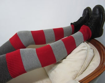 Anime Leg Warmers Socks Red Gray Striped Thigh Highs Over the knee Leg warmers Boot Sock Stripe A1301
