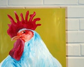 Rooster Painting on 24x30 canvas - Red and Yellow Rooster decor for kitchen or farmhouse