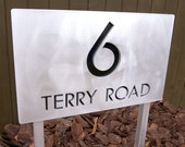 CUSTOM Modern Deluxe Address Sign in Aluminum Ground Stakes