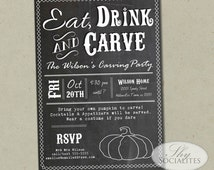 Halloween Pumpkin Carving Party Chalkboard Invitation | Eat, Drink, and Carve, Typography, Black and White | Printed or DIY Instant Download
