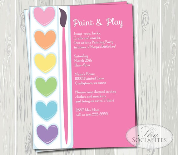 Pink painting party printable invitations ceramic pottery for Paint party invitations free