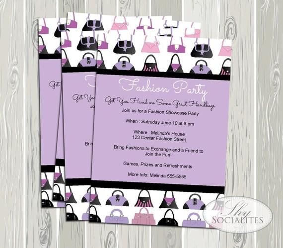 Fashion Exchange Invitation Fashion Party Handbag Party