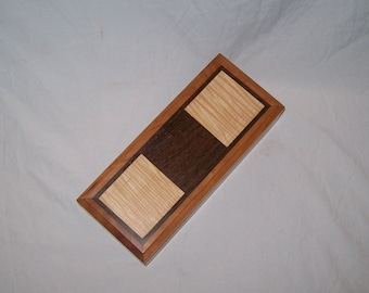 Handcrafted works of Art with a functional flair. Wooden trinket or keepsake box.9''x4 1/2,,x2 3/4''