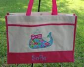 Personalized Kids Tote Bag  BEACH TOTE  WHALE Girls Tote Bag  Pool Bag