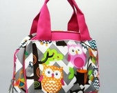 Personalized Girls Insulated Lunch bag-GREY  Chevron  Owl Lunch Bag