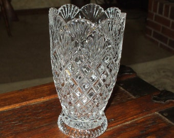 Vase Pressed Glass Pineapple Diamond Design Scalloped EAPG Vintage Crystal