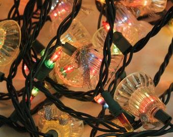 Vintage Christmas Tree Twinkle Lights Strand Plastic Bells Rainbow Bulbs Christmas Holiday Tree Decor Fairy Party Lights 100 Lights