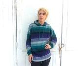 baja jacket hoodie / striped purple white green batwing sweater / vintage Pazzo unisex women men size XL