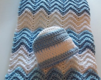 Hand-Crocheted Baby Boy Afghan with Matching Hat