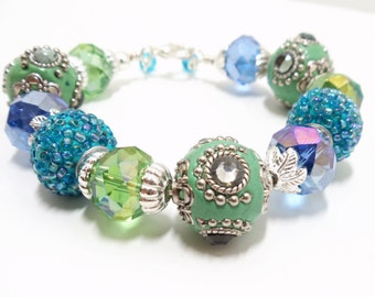 Beaded Bangle- Bead Bracelet- Glamour Bracelet- Blue Green Bangle- Glass Bracelet- Wire Wrap Bracelet- Colorful Bangle- Assorted Beads