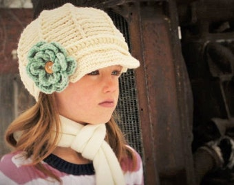 Newsboy Hat with detachable flower - Newsboy Hat - Teen to Adult Newsboy Hat - Winter Hat - by JoJosBootique