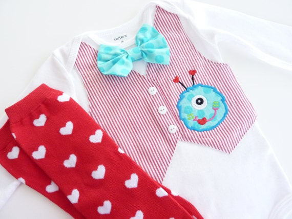 Valentine's Day Monster Tuxedo Bodysuit with Removable Bow Tie and Leg Warmers