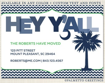 Hey Y'all We Moved, South Carolina New Address - Palmetto Tree with Crescent Moon, Any Color