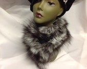 Genuine Silver Fox Fur and Leather Buckled Scarf