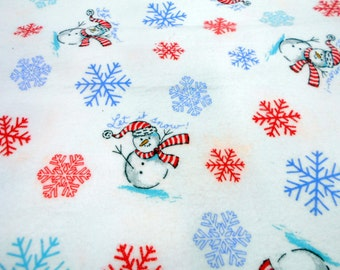 Snowmen Print Flannel, Let It Snow White Flannel Print Fabric,  1 yd Remnant, Sewing Material