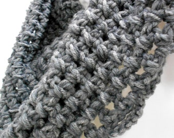 Chunky Gray Cowl, Infinity Scarf, Winter Accessories, Grey Cowl Scarf, Crocheted Scarves