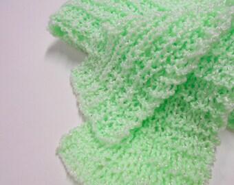 Soft Green Knit Scarf,  Acrylic Yarn, Womens  Scarves, Winter Accessories