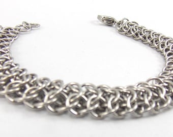 Petite Stainless Steel Interwoven 4 in 1 Chainmaille Bracelet