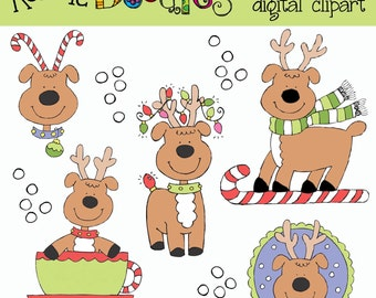Ronnies Reindeer Fun Clip art and stamps COMBO