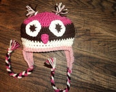 Owl Hat with earflaps crochet Pinks and Brown - newborn to 18 month sizes-