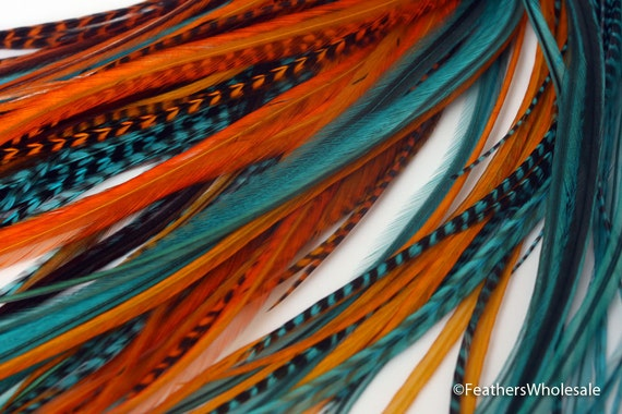 Orange Turquoise Long Feather Hair Extensions Hair Accessories for Women  Coral Orange Blue Feather Extensions Hair Accessory Stormy Mix 8