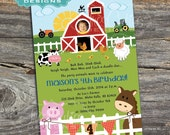 Barnyard Animals Birthday Invitations - For Girls and Boys - With Photo - Printable Digital File